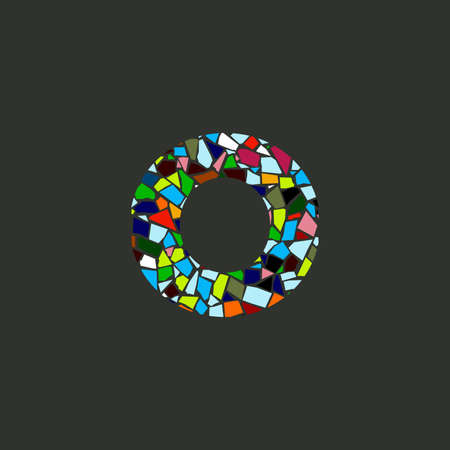 Colorful illustration logo design Initial O Mosaic.