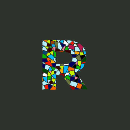 Colorful illustration logo design Initial R Mosaic.