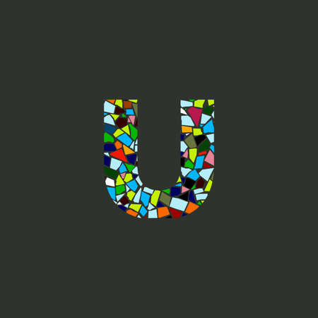 Colorful illustration logo design Initial U Mosaic. Ilustracja