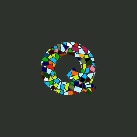 Colorful illustration logo design Initial Q Mosaic.