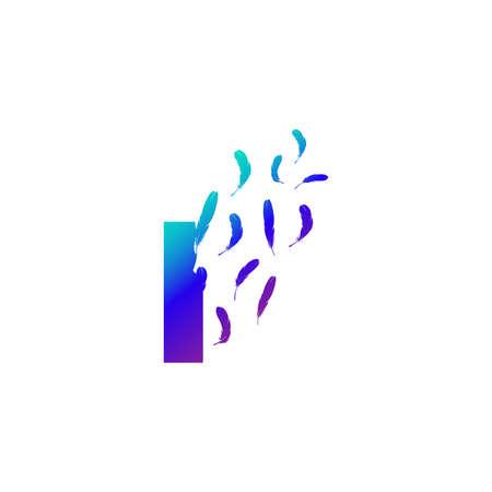 Modern and Colorful Illustration logo design Initial I Feather Freedom. Zdjęcie Seryjne - 155565130
