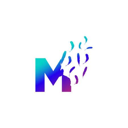 Modern and Colorful Illustration logo design Initial M Feather Freedom. Zdjęcie Seryjne - 155565128