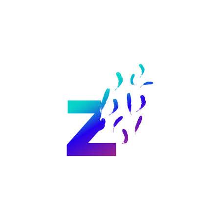 Modern and Colorful Illustration logo design Initial Z Feather Freedom. Zdjęcie Seryjne - 155565132
