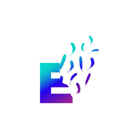Modern and Colorful Illustration logo design Initial E Feather Freedom. Zdjęcie Seryjne - 155565135