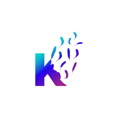 Modern and Colorful Illustration logo design Initial K Feather Freedom.