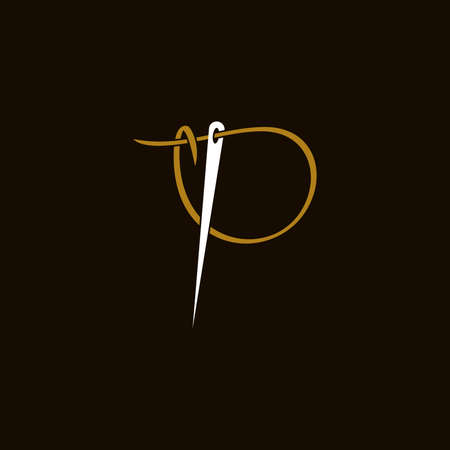Simple and Minimalist logo design illustration Needle and initial P