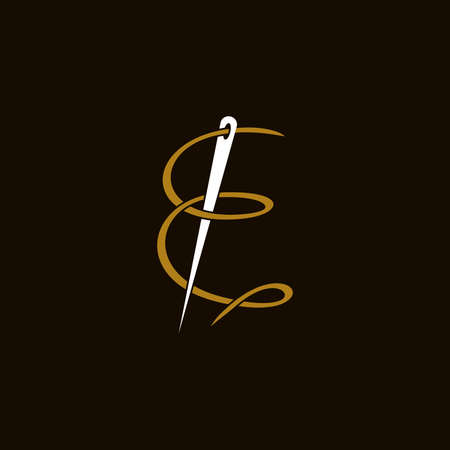 Simple and Minimalist logo design illustration Needle and initial F Ilustracja