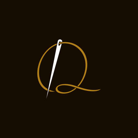 Simple and Minimalist logo design illustration Needle and initial Q Ilustracja