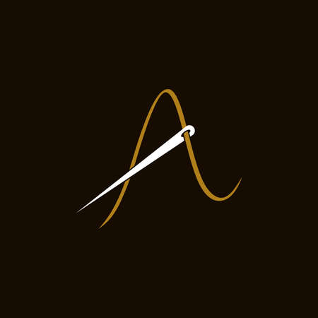 Simple and Minimalist logo design illustration Needle and initial A Ilustracja