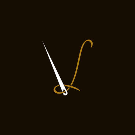 Simple and Minimalist logo design illustration Needle and initial V