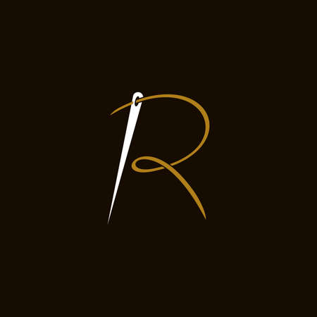 Simple and Minimalist logo design illustration Needle and initial R