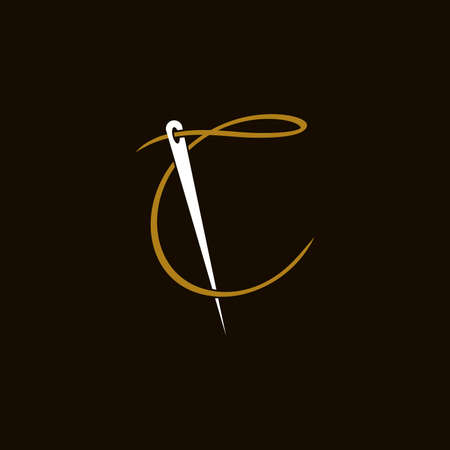 Simple and Minimalist logo design illustration Needle and initial C Ilustracja