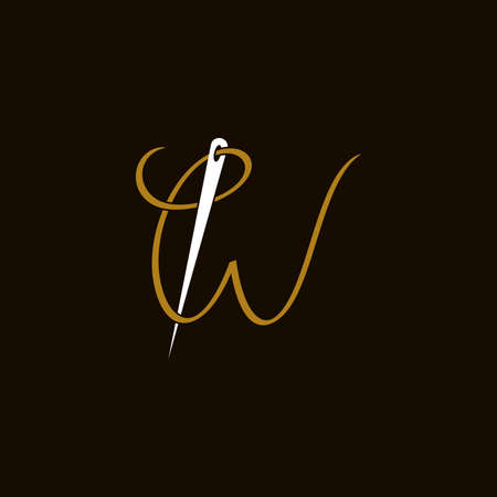 Simple and Minimalist logo design illustration Needle and initial W Ilustracja