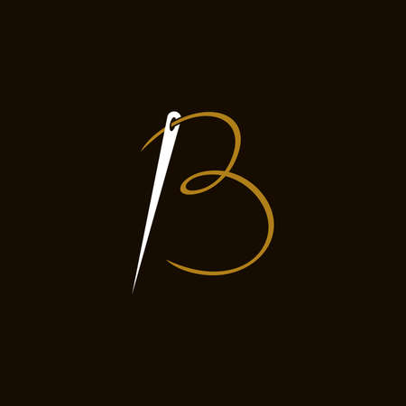 Simple and Minimalist logo design illustration Needle and initial B