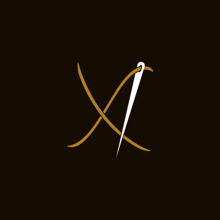 Simple and Minimalist logo design illustration Needle and initial X