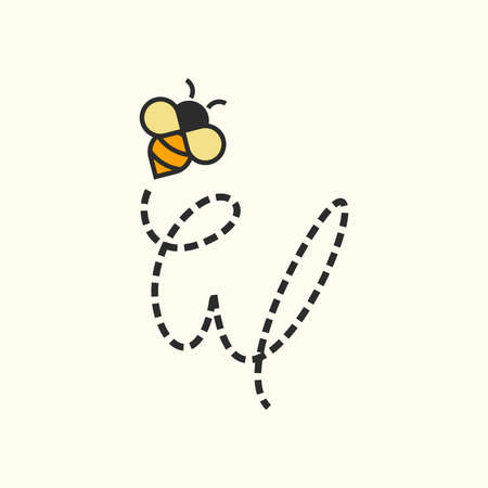 Simple and Sweet Illustration design Initial Flying Bee W