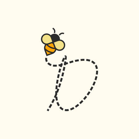 Simple and Sweet Illustration design Initial Flying Bee Ilustracja