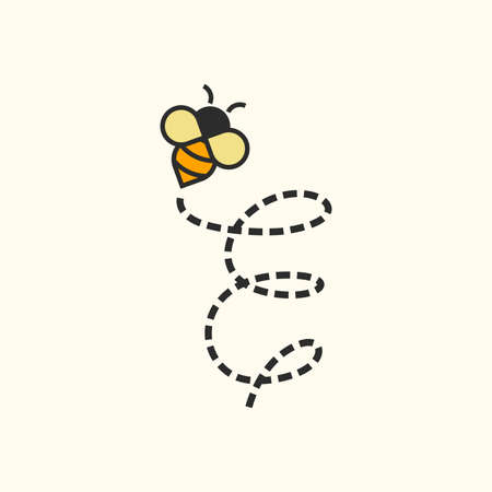 Simple and Sweet Illustration design Initial Flying Bee E Ilustracja