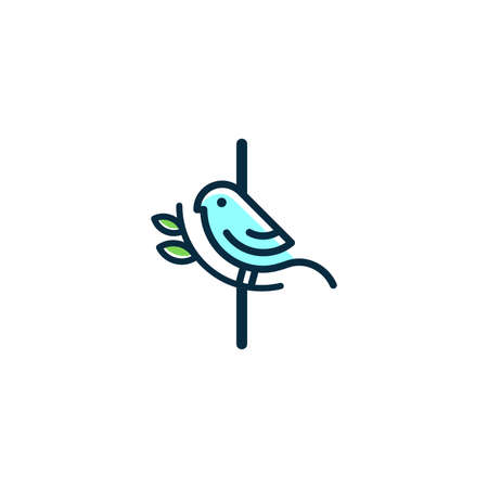 Cute and Charming logo design initial I combine with blue bird.