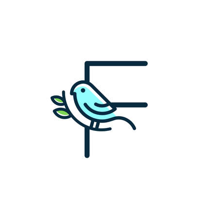 Cute and Charming logo design initial F combine with blue bird. Ilustracja
