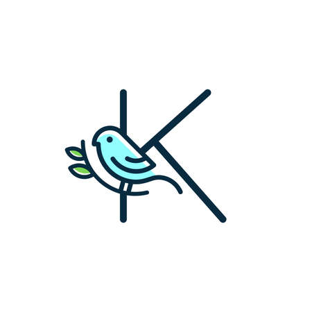 Cute and Charming logo design initial K combine with blue bird. Ilustracja