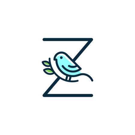 Cute and Charming logo design initial Z combine with blue bird. Ilustracja