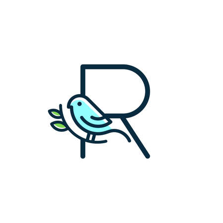 Cute and Charming logo design initial R combine with blue bird.