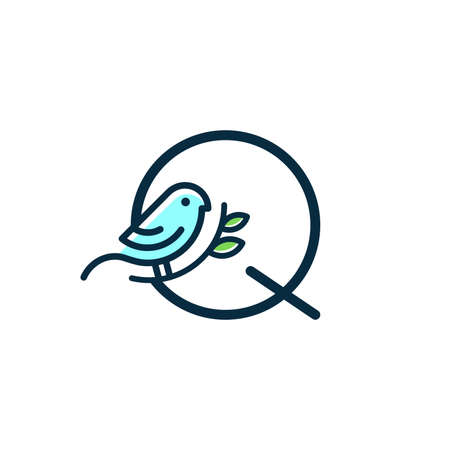 Cute and Charming logo design initial Q combine with blue bird.