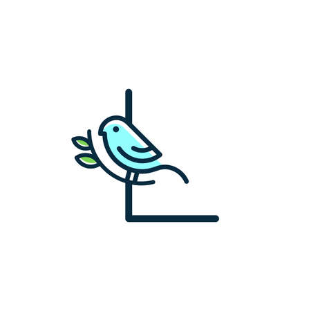Cute and Charming logo design initial L combine with blue bird.