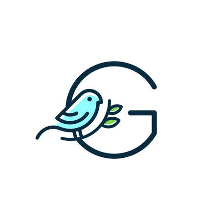 Cute and Charming logo design initial G combine with blue bird. Ilustracja