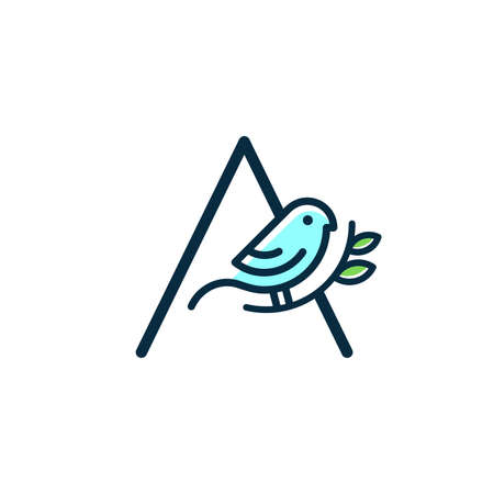 Cute and Charming logo design initial A combine with blue bird.