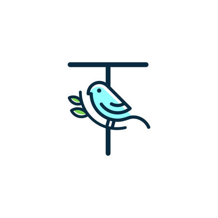 Cute and Charming logo design initial T combine with blue bird.