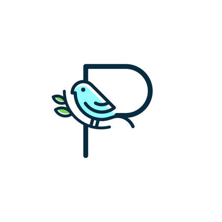 Cute and Charming logo design initial P combine with blue bird.