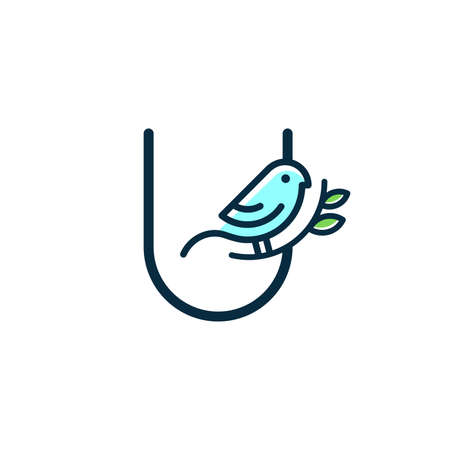 Cute and Charming logo design initial U combine with blue bird.