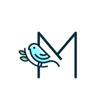 Cute and Charming logo design initial M combine with blue bird.