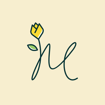 Beauty and charming simple illustration logo design Initial M combine with tulip flower.