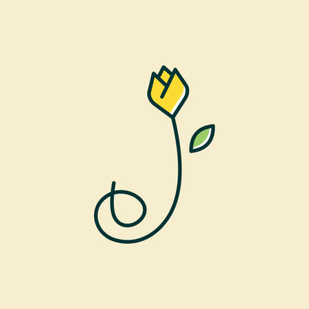 Beauty and charming simple illustration logo design Initial J combine with tulip flower.