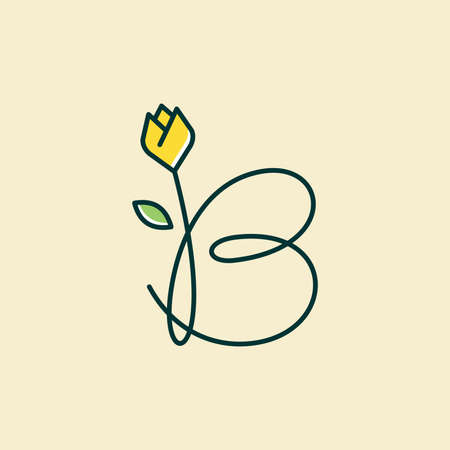 Beauty and charming simple illustration logo design Initial B combine with tulip flower.