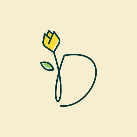 Beauty and charming simple illustration logo design Initial D combine with tulip flower. Ilustracja