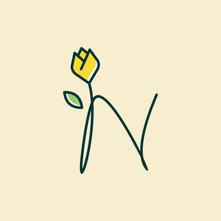 Beauty and charming simple illustration logo design Initial N combine with tulip flower.