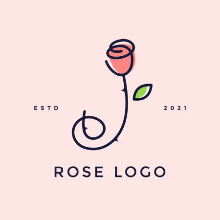 Beauty and charming simple illustration logo design Initial J combine with Rose flower. Ilustracja