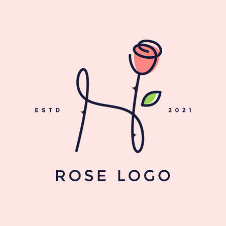 Beauty and charming simple illustration logo design Initial H combine with Rose flower. Ilustracja