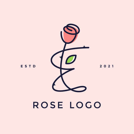 Beauty and charming simple illustration logo design Initial E combine with Rose flower. Ilustracja