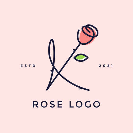 Beauty and charming simple illustration logo design Initial K combine with Rose flower. Ilustracja