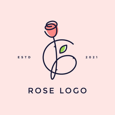 Beauty and charming simple illustration logo design Initial G combine with Rose flower. Ilustracja