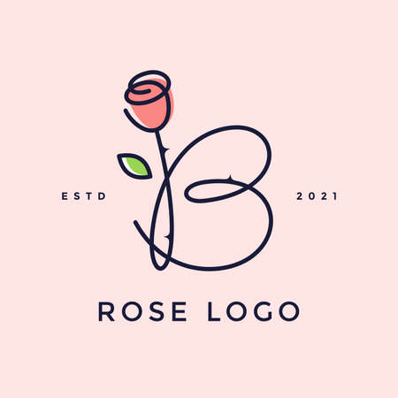 Beauty and charming simple illustration logo design Initial B combine with Rose flower.
