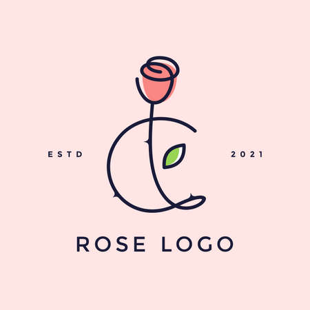Beauty and charming simple illustration logo design Initial C combine with Rose flower.