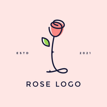Beauty and charming simple illustration logo design Initial I combine with Rose flower. Ilustracja