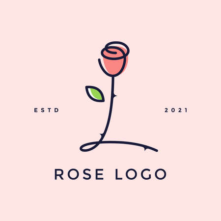 Beauty and charming simple illustration logo design Initial L combine with Rose flower.