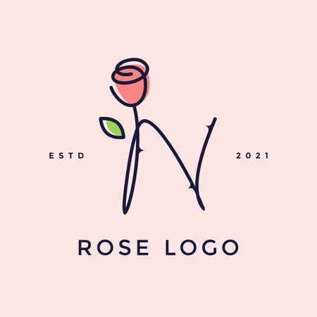 Beauty and charming simple illustration logo design Initial N combine with Rose flower.